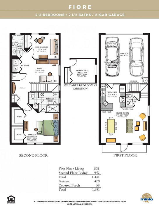 Fiore floorplan at Artesia in Sunrise, Florida